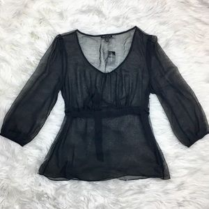 THE LIMITED SHEER BLACK BLOUSE SIZE MEDIUM NWT